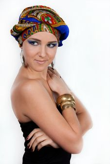 Free Attractive Woman In  Oriental Turban Royalty Free Stock Image - 17975236