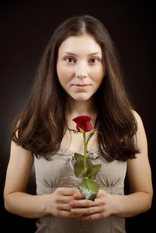 Free Pretty Girl With Rose Stock Photos - 17976193