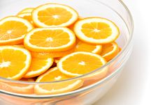 Orange Slices In Glass Bowl