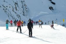 Many People Skiing In European Alps. Stock Photography