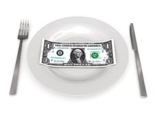 Free One Dollar On Plate Stock Photography - 17976462