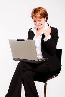 Free Business Woman With Laptop Stock Photography - 17976492
