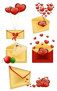 Free Envelopes With Red Hearts Royalty Free Stock Image - 17976856