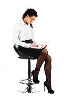 Free Woman With Laptop Stock Photos - 17976923