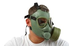 Free Gas Mask Man Looking Angry Royalty Free Stock Image - 17977036