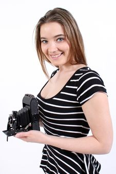 Free Woman Holding A Vintage Camera Royalty Free Stock Photo - 17978675