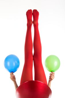 Free Female Feet In Red Stockings With Balloons Royalty Free Stock Photos - 17979298