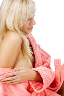 Free Relaxation Blonde In Bathrobe Royalty Free Stock Photos - 17979938