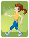 Free Running Girl With Headphones Royalty Free Stock Photo - 17982855