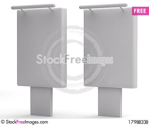 Free Simple White Billboard Royalty Free Stock Photos - 17988338