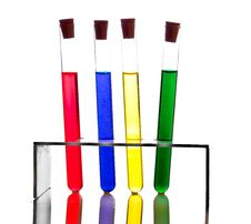 Free Labolatory Glassware With Colorful Fluids Isolated Royalty Free Stock Image - 17980626