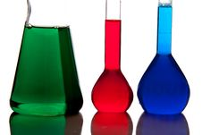 Free Labolatory Glassware With Colorful Fluids Isolated Stock Photography - 17980682