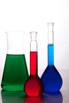 Free Labolatory Glassware With Colorful Fluids Isolated Stock Photo - 17980800