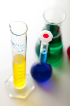 Free Labolatory Glassware With Colorful Fluids Isolated Stock Photo - 17980850