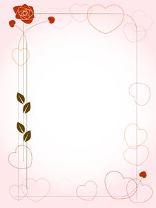 Free Background With Hearts And Rose Royalty Free Stock Photo - 17980875