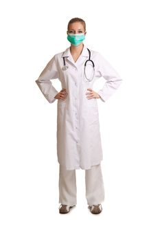Free Medical Doctor Woman Isolated On White Royalty Free Stock Photos - 17980948