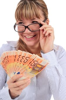Free Beautiful Smiling Girl With Money. Stock Photography - 17981252