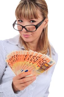 Free Beautiful Smiling Girl With Money. Stock Images - 17981274
