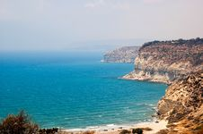 Free Kourion Coast With Blue Sea And Sky With Clouds Stock Photos - 17981573