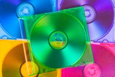 Free Computer Disks In Multiciolored Boxes Royalty Free Stock Photos - 17982198