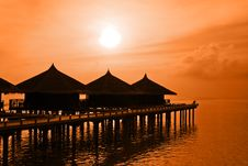 Free Water Bungalows And Sunset Royalty Free Stock Image - 17982236