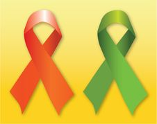 Free Red & Green Support Ribbons Royalty Free Stock Image - 17982586