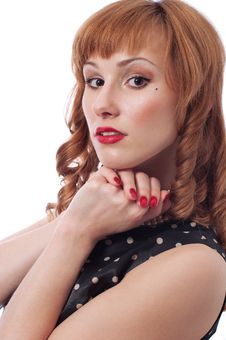 Free Girl S With Red Curls Retro Portrait Stock Image - 17982591