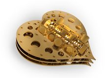 Free GOLD Mechanical Heart V8 3d Royalty Free Stock Photo - 17983325