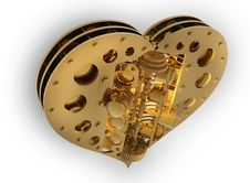 Free GOLD Mechanical Heart V8 3d Royalty Free Stock Photos - 17983328
