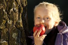 Free Young Girl Leans On Tree And Bite In An Appel Stock Image - 17983711