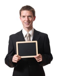 Free Businessman Holding Blackboard Royalty Free Stock Image - 17983786