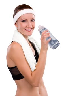 Free Fitness Woman Drinks Water Stock Image - 17984451
