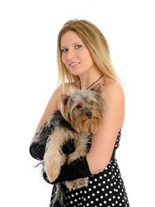 Free Beautiful Girl With Small Cute York Terrier Dog Stock Photography - 17984722
