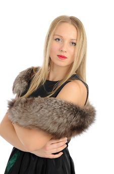 Free Beautiful Woman In Elegant Animal Fur Jacket Stock Photos - 17984733