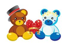 Free Teddy Bears And Hearts. Royalty Free Stock Photo - 17984895