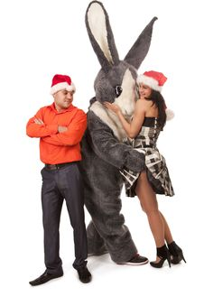 Free Big Rabbit Flirting With Cute Girl Royalty Free Stock Photo - 17984925