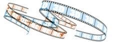 3d Film Rolled Forward Stock Photo