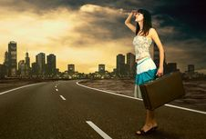 Free Woman On The Road Stock Images - 17987074