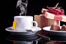 Free Tea, Chocolate And Gift Stock Photo - 17987630