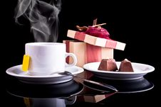 Free Tea, Chocolate And Gift Stock Photography - 17987752