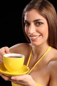 Free Beautiful Smiling Woman Holding Cup Of Black Tea Royalty Free Stock Image - 17988076