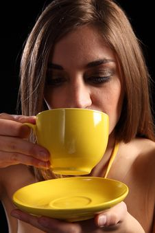 Beautiful Young Woman Drinking Cup Of Hot Tea Stock Photography