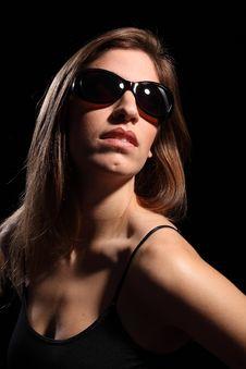 Free Beautiful Young Woman Wearing Dark Sunglasses Stock Photo - 17988380