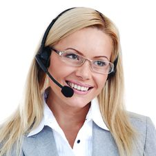 Woman Call With Headset Stock Image