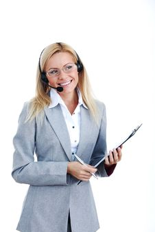 Free Woman Call With Headset Stock Image - 17988991