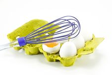 Egg Box And Egg Beater Royalty Free Stock Photo