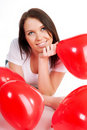 Free Young Brunette With Red Hearts Isolated Stock Photography - 17994052