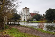 Church On The River Thames In Winter Stock Photos