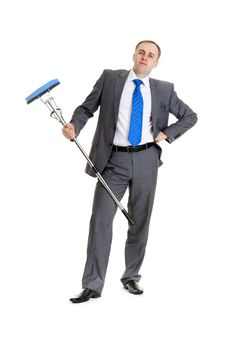 Free Businessman With A Mop Stock Photography - 17992292