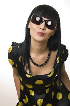 Free The Disco Girl In Sun Glasses Sends An Air Kiss Royalty Free Stock Photos - 17992618
